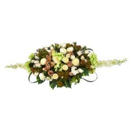 Композиция из цветов на гроб №7 из пионов и роз заказать в магазине ритуальных товаров в спб
