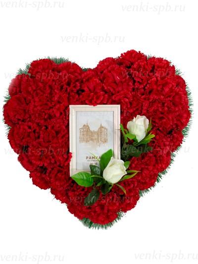 Ритуальный венок Разбитое Сердце (Малое) №3 с фоторамкой - Фото 1   Компания «Венок»