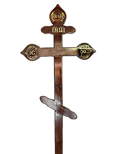 Крест сосновый КДС-15 фигурный темный - Фото 1 | Компания «Венок»