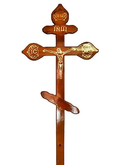 Крест сосновый КДС-16 фигурный с распятием светлый - Фото 1 | Компания «Венок»