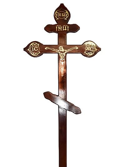 Крест сосновый КДС-16 фигурный с распятием тёмный - Фото 1 | Компания «Венок»