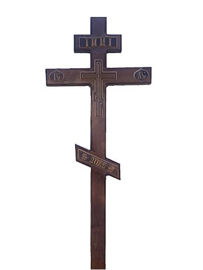 Крест сосновый КС-37 мореный с накладками - Фото 1 | Компания «Венок»