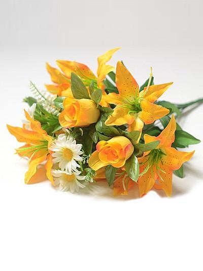 САН-БЕС Букет смешанный бутоны роз и лилии – желтый - Фото 1   Компания «Венок»