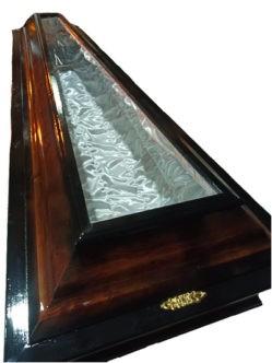 Гроб полированный со стеклянной крышей для умерших от covid-19