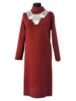Платье габардиновое КЛАССИКА с воротником бордовое