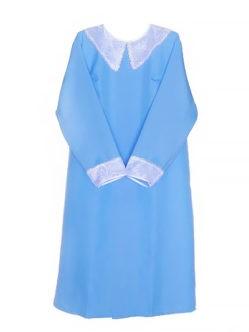 Габардиновое платье в гроб с белым воротником голубое