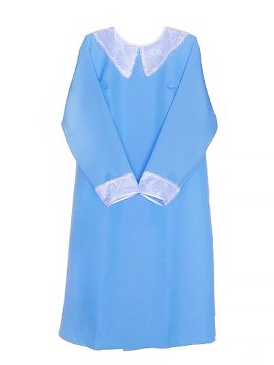 Платье с кружевным воротником – голубое - Фото 1   Компания «Венок»
