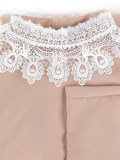 Платье с брошью (габардин + кружево) бежевое - Фото 1 | Компания «Венок»