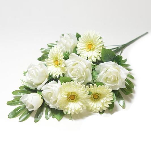Веерный букет Турсо (розы и герберы) – белый - Фото 1   Компания «Венок»
