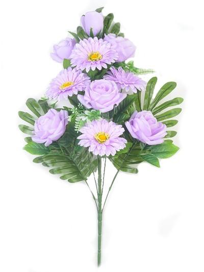 Веерный букет Турсо (розы и герберы) – сиреневый - Фото 2 | Компания «Венок»