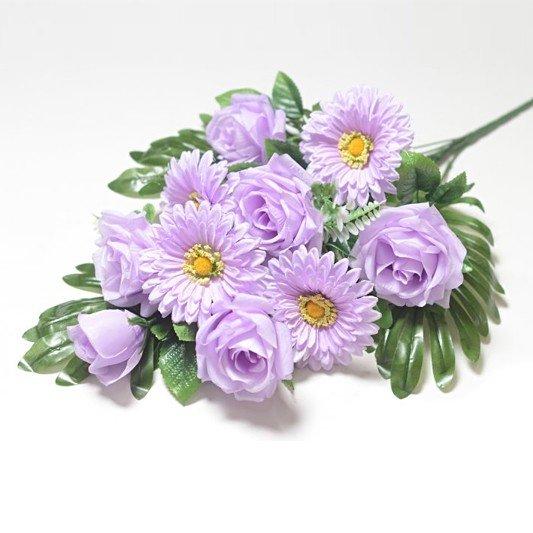 Веерный букет Турсо (розы и герберы) – сиреневый - Фото 1 | Компания «Венок»
