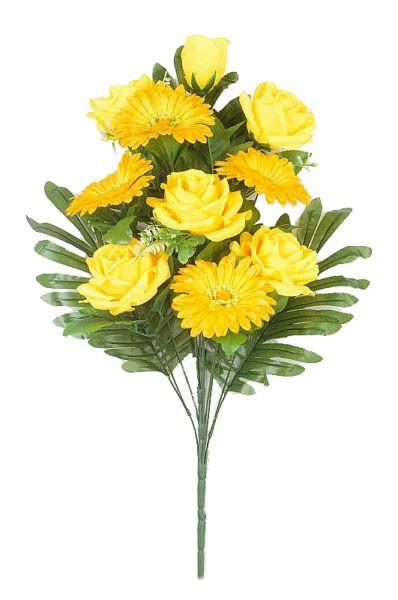 Веерный букет Турсо (розы и герберы) – желтый - Фото 1 | Компания «Венок»