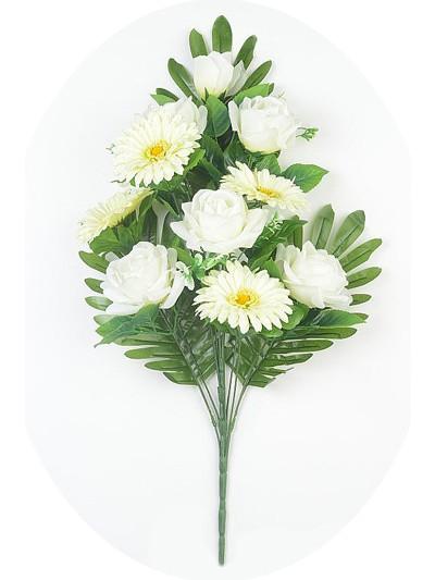 Веерный букет Турсо (розы и герберы) – белый - Фото 2   Компания «Венок»