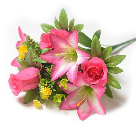Букет Уитни смешанный (розы + лилии) – малиновый - Фото 1 | Компания «Венок»