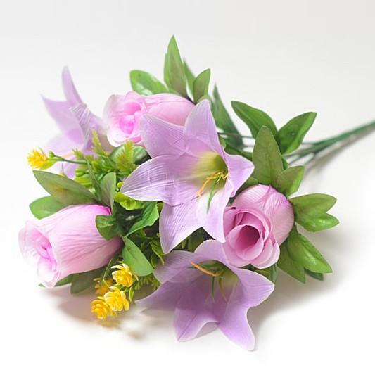 Букет Уитни смешанный (розы + лилии) – сиреневый - Фото 1 | Компания «Венок»
