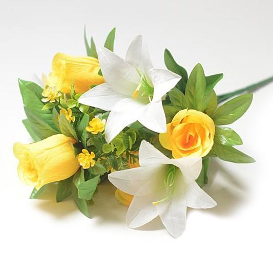 Букет Уитни смешанный (розы + лилии) – желтый - Фото 1 | Компания «Венок»