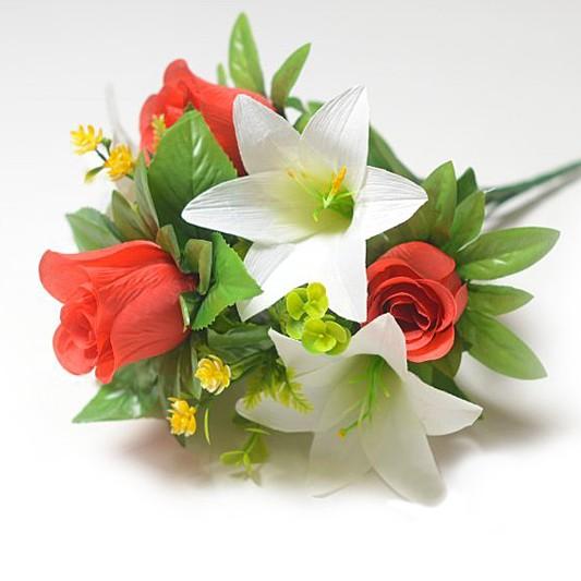 Букет Уитни смешанный (розы + лилии) – красный - Фото 1   Компания «Венок»