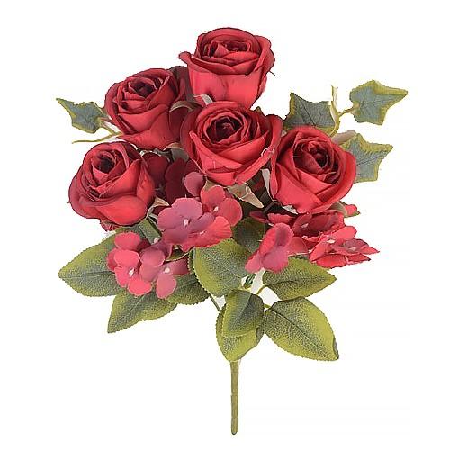 Букет роз с гортензией Эбберли – красный - Фото 1 | Компания «Венок»