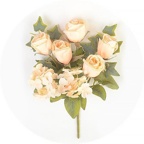 Букет роз с гортензией Эбберли – персиковый - Фото 1 | Компания «Венок»