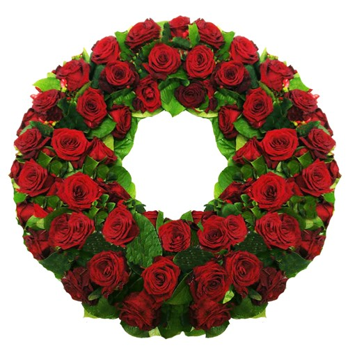 Венок из живых цветов №17 из красных роз - Фото 1 | Компания «Венок»